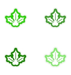 Set of paper stickers on white background sprig vector