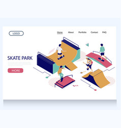 skate park website landing page design vector image