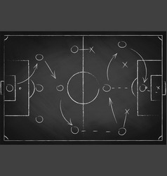 Soccer tactic scheme on chalkboard football team vector