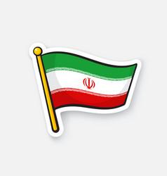 Sticker flag iran on flagstaff vector
