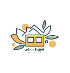 Sweet home logo template design eco friendly vector