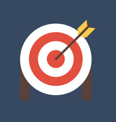Target with arrow on tripod flat icon smart goal vector
