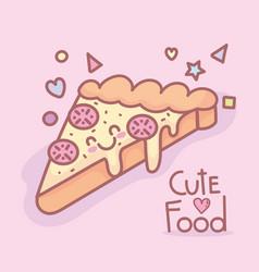 tasty pizza character menu restaurant cartoon food vector image