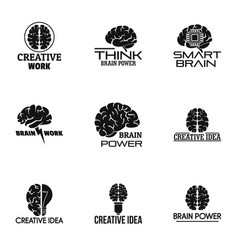 Think brain power logo set simple style vector