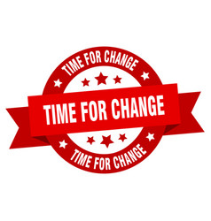time for change ribbon time for change round red vector image