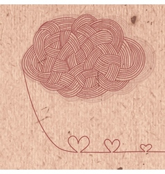 Vintage card with hearts of the filaments vector