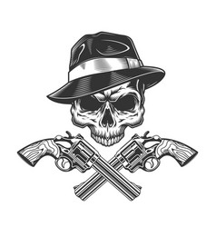 Vintage monochrome gangster skull without jaw vector
