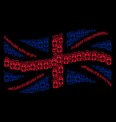 Waving great britain flag collage of death skull vector