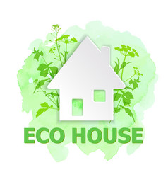 white paper house and green plants vector image