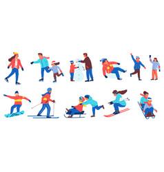 Winter activities cartoon adult and children vector