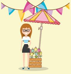 woman at farmers market vector image