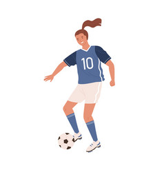 young female soccer player kicking ball forward vector image