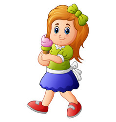 young girl holding ice crea vector image