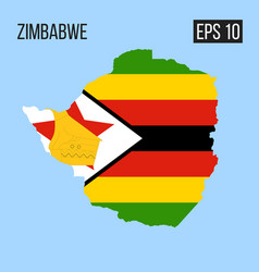 zimbabwe map border with flag eps10 vector image