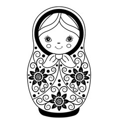 Black and White Matryoshka vector image