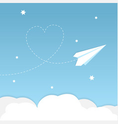 paper airplane background with heart vector image