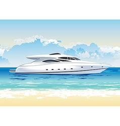 speed boat on seashore daylight vector image vector image