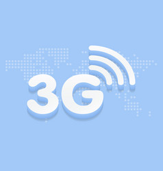3g fast internet 3d sign in blue background and vector