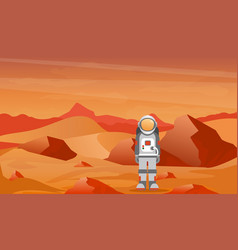 Astronaut in a spacesuit on mars or another planet vector