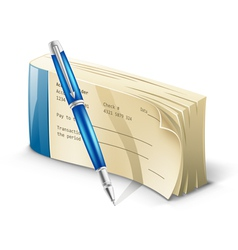 checkbook with pen vector image vector image