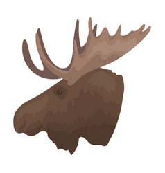 head of an elk with horns canada single icon in vector image vector image