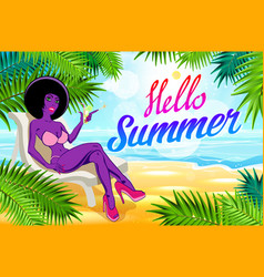 hello summer lettering and woman on of the sea vector image vector image