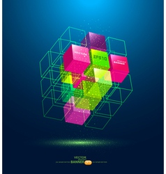 abstract colorful cube vector image vector image