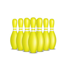 bowling pins in yellow design with white stripes vector image