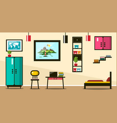 flat design room working space with bed and vector image vector image