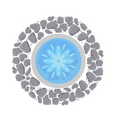 fountain with flowing water top view vector image vector image