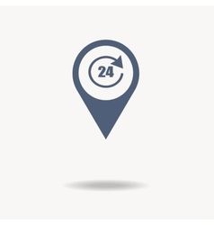 Map pointer with sign 24 online flat icon vector image vector image