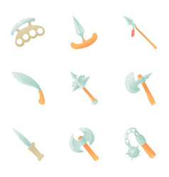 metal weapon icons set cartoon style vector image vector image