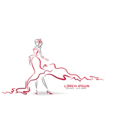Silhouette of elegant woman in evening dress vector image vector image