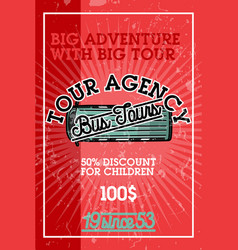 Color vintage tour agency banner vector