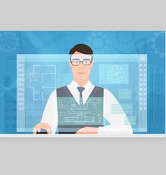 engineer man working using virtual media interface vector image