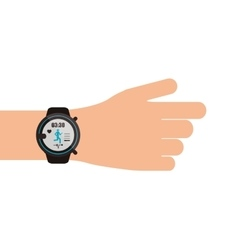heartrate wrist tracker on hand icon vector image vector image