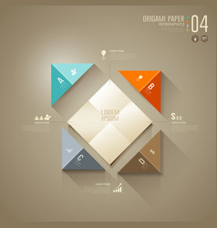Origami colorful paper cut Infographics vector image vector image