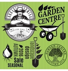 set of retro badges with farmer for gardening or vector image