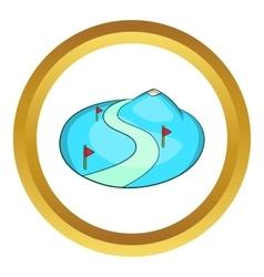 Ski slope of the snow mountain icon vector