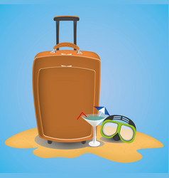 travel suitcase on the beach with waterglasses vector image