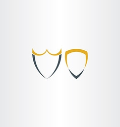 two abstract stylized shield icons vector image