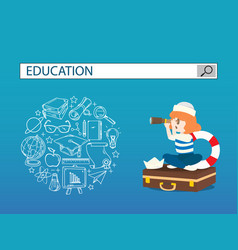 A girl with accessories and education search vector