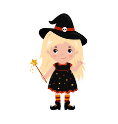 Adorable little witch halloween costume vector