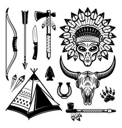 Alien indian and different western elements set vector
