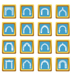 Arch types icons set sapphirine square vector