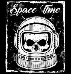 astronaut black and white skull t shirt graphic vector image