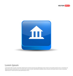 bank icon - 3d blue button vector image