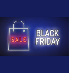 black friday neon style banner sale vector image