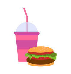 Burger and milkshake set vector