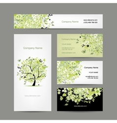 Business cards design spring tree floral vector image vector image